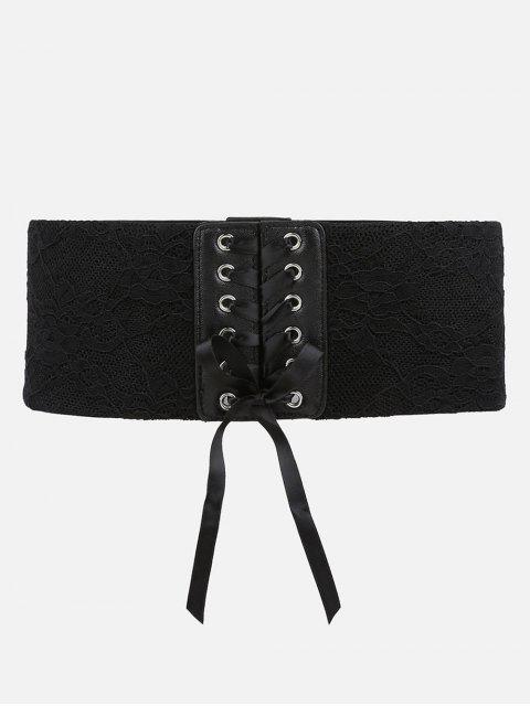 lady Stylish Drawstring Stretchy Lace Wide Belt - BLACK  Mobile