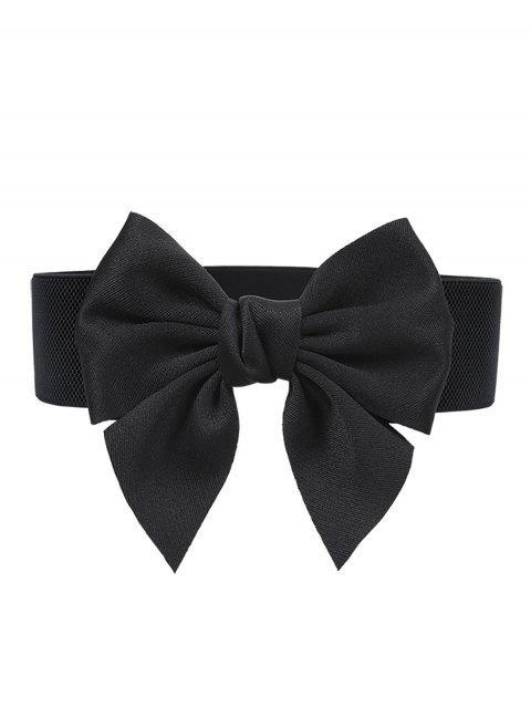 outfit Bowknot Embellished Elastic Dress Belt - BLACK  Mobile