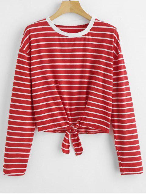 women's Tie Striped T-shirt - RED S Mobile