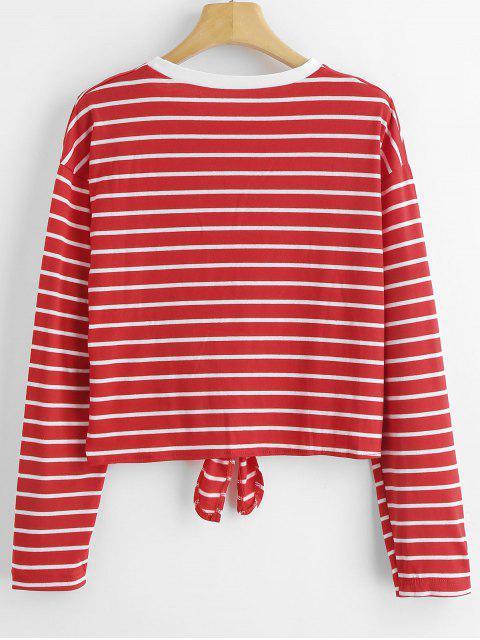 T-shirt Listrado do Laço - Vermelho XL Mobile