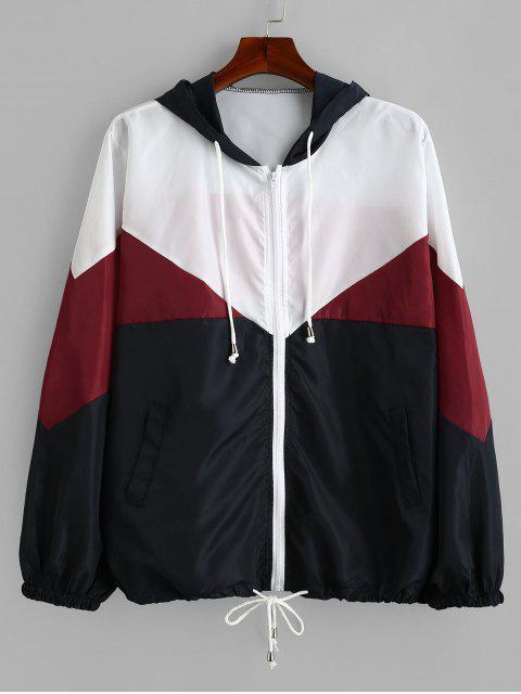 Tricolor Plus Size Light Windbreaker Jacke - Roter Wein 2X Mobile