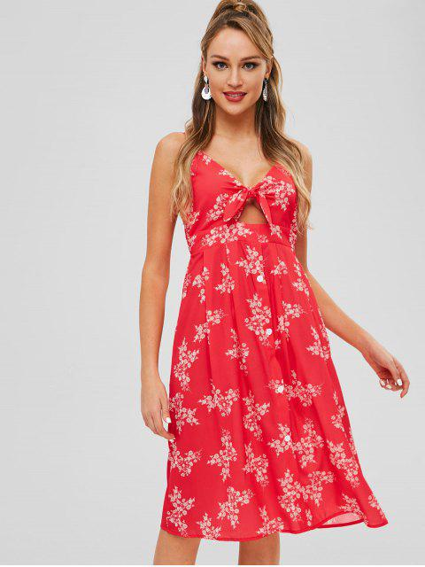 trendy Cutout Shirred Floral Cami Dress - RED L Mobile