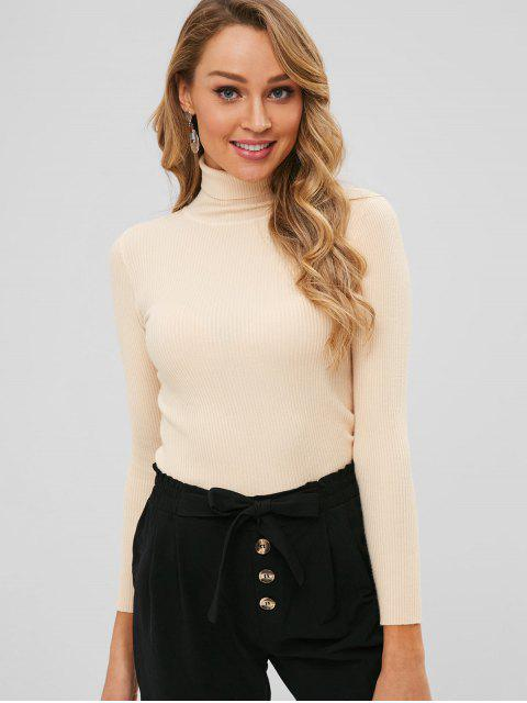 lady Turtleneck Ribbed Jumper Sweater - BLANCHED ALMOND ONE SIZE Mobile