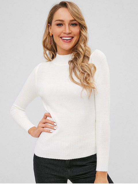 Basic Slim Fit Sweater - Weiß Eine Größe Mobile