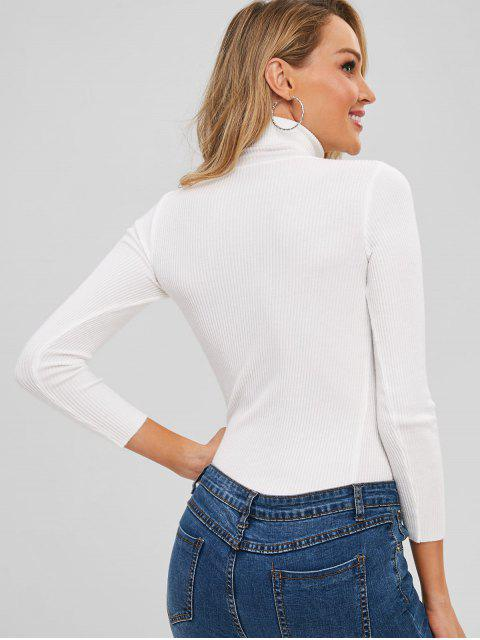 shops Turtleneck Ribbed Jumper Sweater - WHITE ONE SIZE Mobile