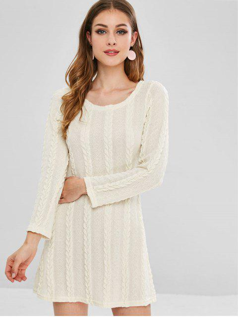 best Cable Knit A Line Sweater Dress - CORNSILK L Mobile