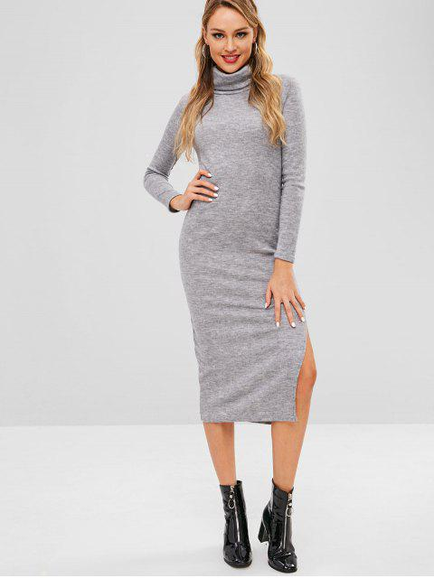 ladies Slit Turtleneck Knitted Dress - GRAY M Mobile