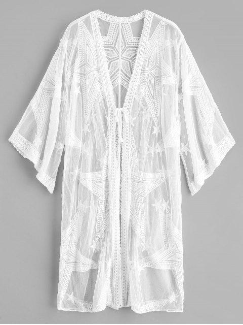 affordable Star Lace Kimono Beach Cover Up - WHITE ONE SIZE Mobile