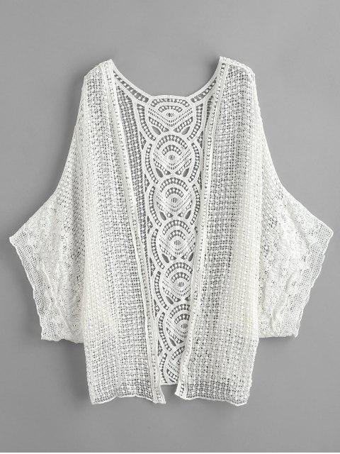 Sheer Crochet Kimono Beach Cover Up - Blanco Única Talla Mobile