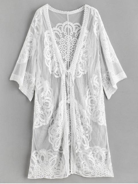 Plage de kimono en dentelle pure couvrir - Blanc Taille Unique Mobile