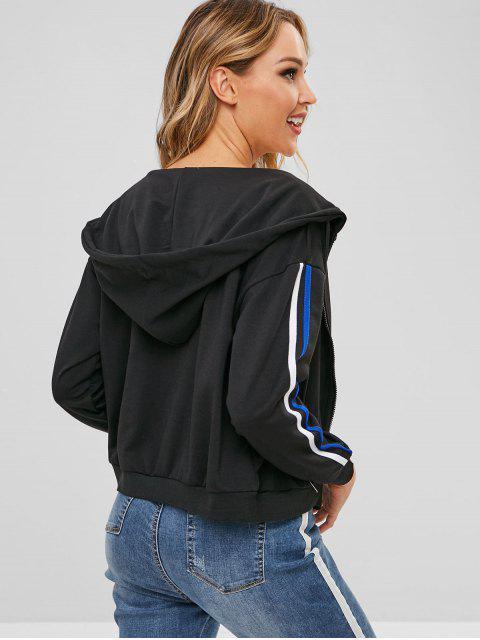 ladies ZAFUL Zip Up Contrast Sport Hoodie - BLACK XL Mobile