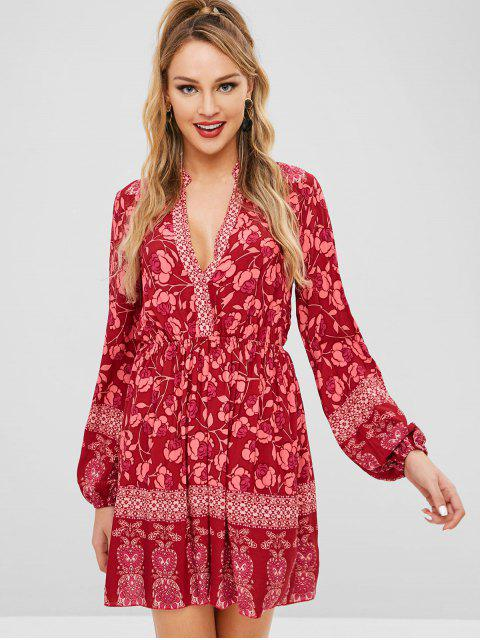 sale ZAFUL Floral Long Sleeve Boho Dress - RED WINE M Mobile