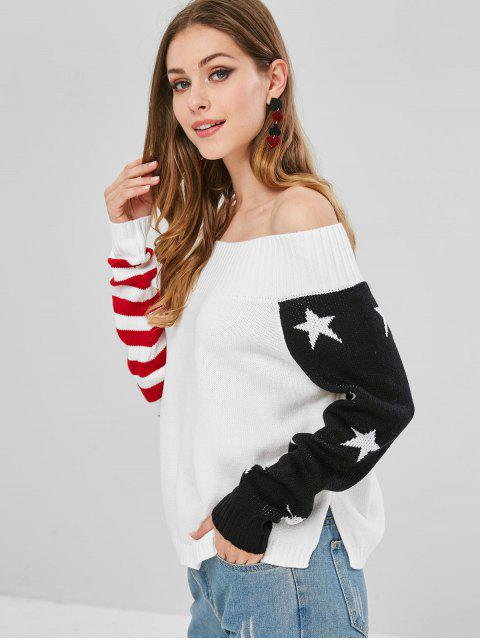 trendy ZAFUL Striped American Flag Off Shoulder Sweater - WHITE ONE SIZE Mobile