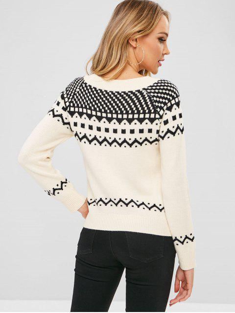 fashion ZAFUL Geometric Graphic Textured Sweater - WHITE ONE SIZE Mobile