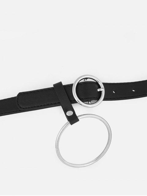 Cintura Sottile in Pelle Sintetica con Anello Metallico Vintage - Nero  Mobile