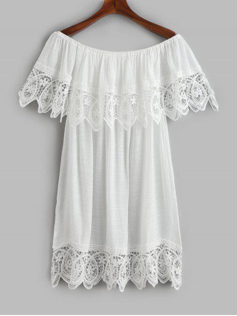 Robe cache-coeur en crochet avec rabat sur l'épaule - Blanc Taille Unique Mobile