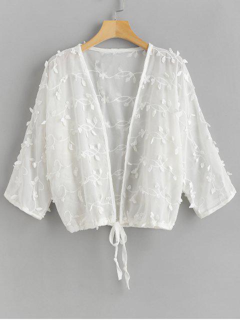 fashion Flower Drawstring Hem Beach Cover Up - WHITE ONE SIZE Mobile