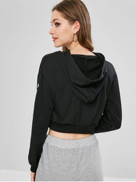ladies Letter Rose Graphic Cropped Hoodie - BLACK S Mobile