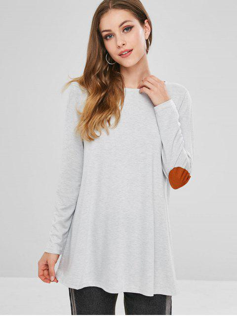 shops Elbow Patch Tunic Top - GRAY L Mobile