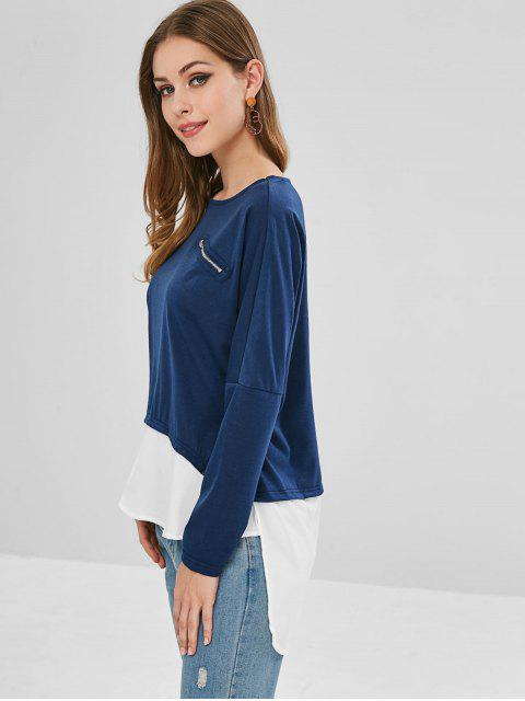 outfits Zippered Panel High Low Top - DEEP BLUE M Mobile