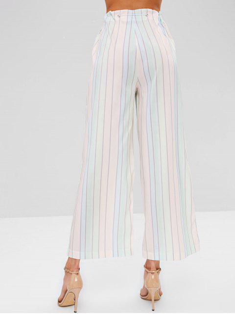 unique Wide Leg Contrast Striped Pants - MULTI M Mobile