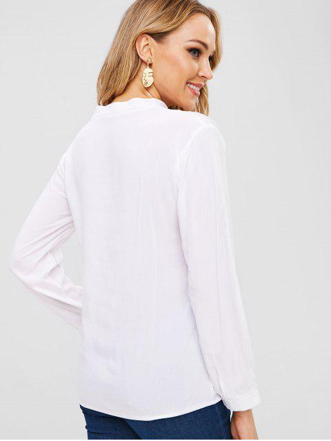 fashion V Neck Crochet Panel Blouse - WHITE L Mobile