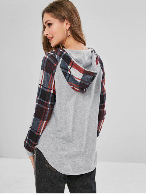 trendy Raglan Sleeves Plaid Hooded Tee - MULTI S Mobile