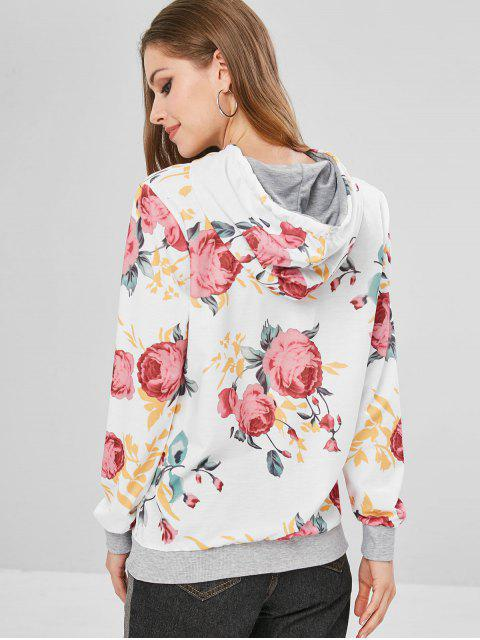 sale Floral Print Pouch Pocket Pullover Hoodie - MULTI-A L Mobile