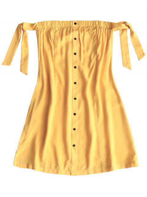 Mini vestido atado con botones - Amarillo S Mobile
