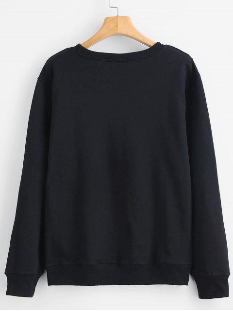 affordable Princess Crown Graphic Sweatshirt - BLACK XL Mobile