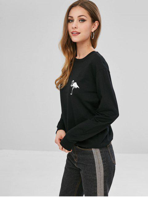 lady Ostrich Graphic Sweatshirt - BLACK XL Mobile