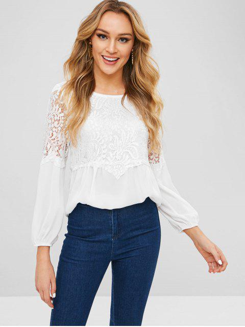 ladies Lace Panel Round Neck Blouse - WHITE M Mobile