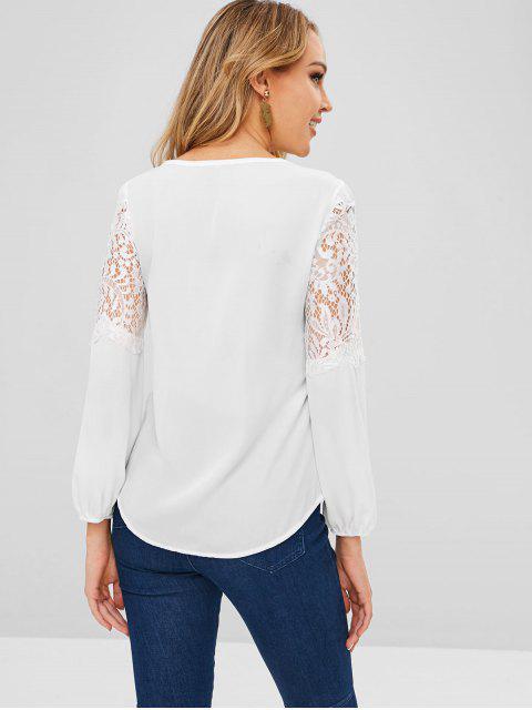 shop Lace Panel Round Neck Blouse - WHITE L Mobile