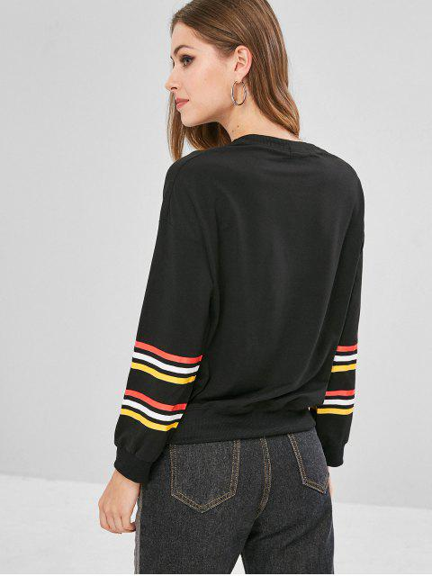 affordable Drop Shoulder Striped Panel Sweatshirt - BLACK 2XL Mobile
