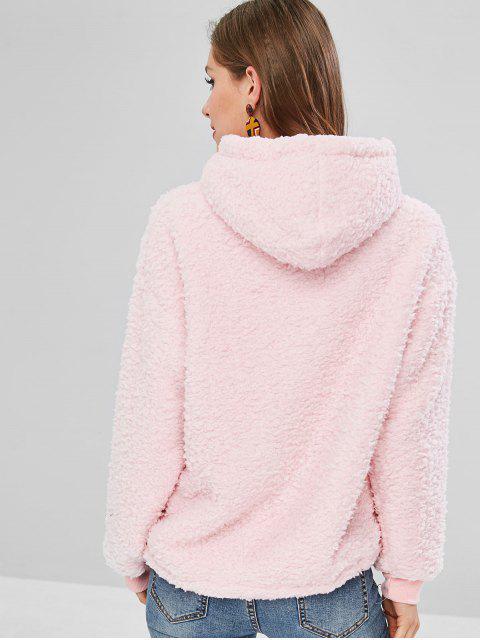 online USA Kangaroo Pocket Fluffy Hoodie - PIG PINK ONE SIZE Mobile