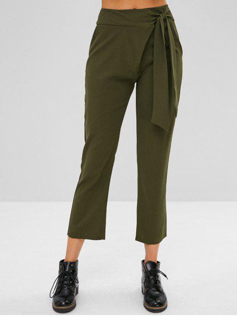 fashion Zip Fly High Rise Tied Pants - ARMY GREEN XL Mobile