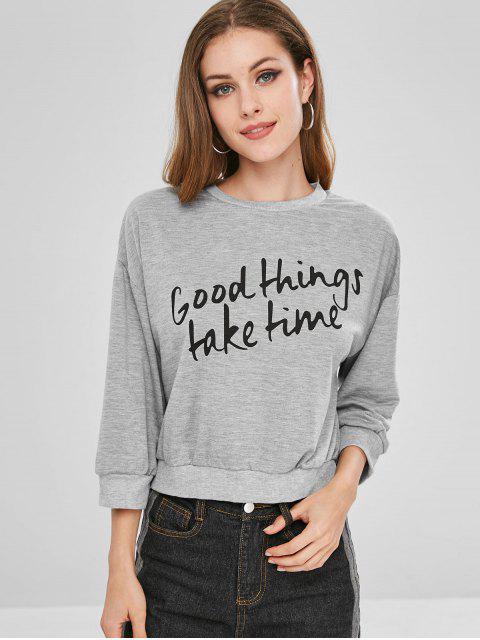 fashion Drop Shoulder Letter Graphic Sweatshirt - LIGHT SLATE GRAY M Mobile