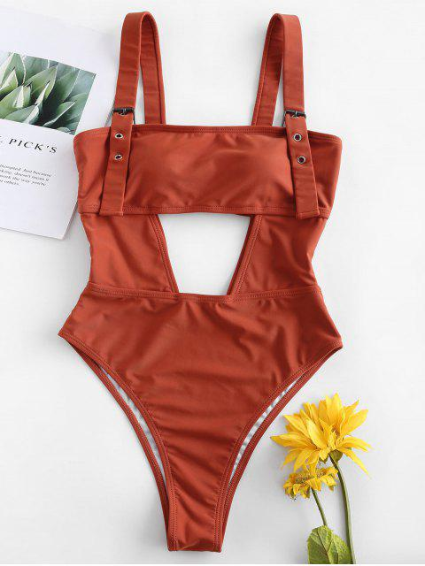 women ZAFUL High Leg Cut Out Swimsuit - CHESTNUT L Mobile