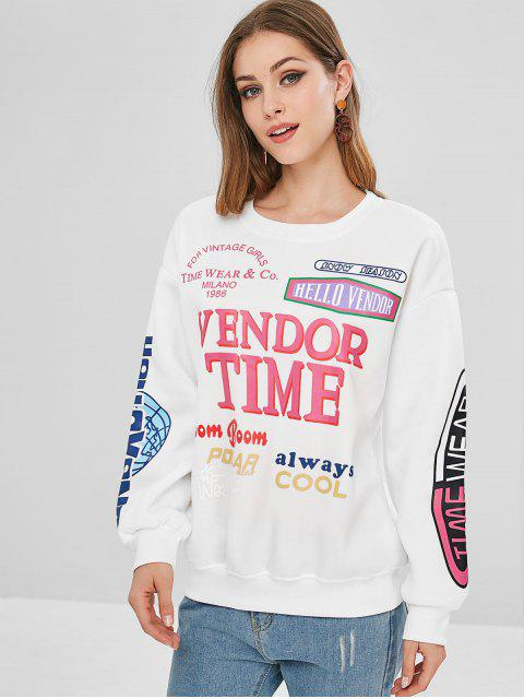 affordable Round Collar Fleece Graphic Sweatshirt - WHITE L Mobile