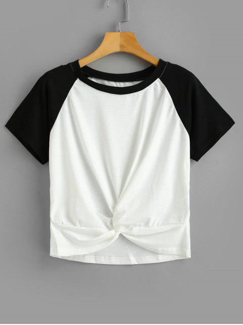 womens Two Tone Twist Cropped Tee - WHITE S Mobile