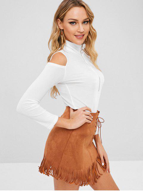 shops Half Zip Velvet Cold Shoulder Top - WHITE ONE SIZE Mobile