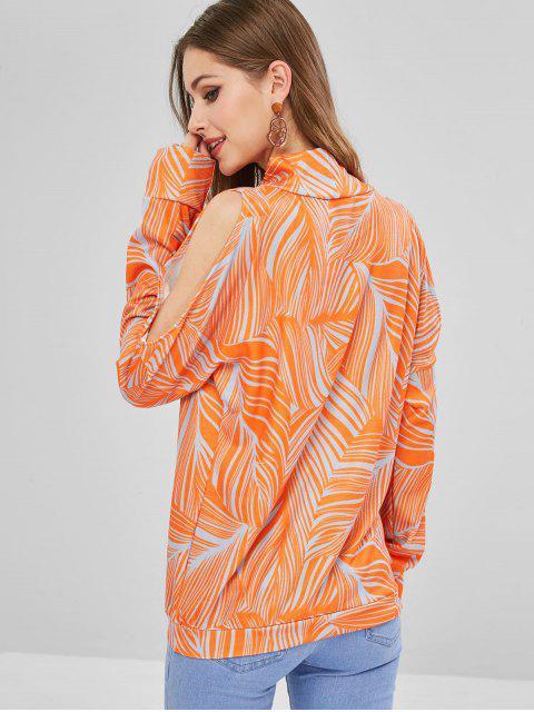 fashion High Neck Leaves Print Sweatshirt - ORANGE M Mobile