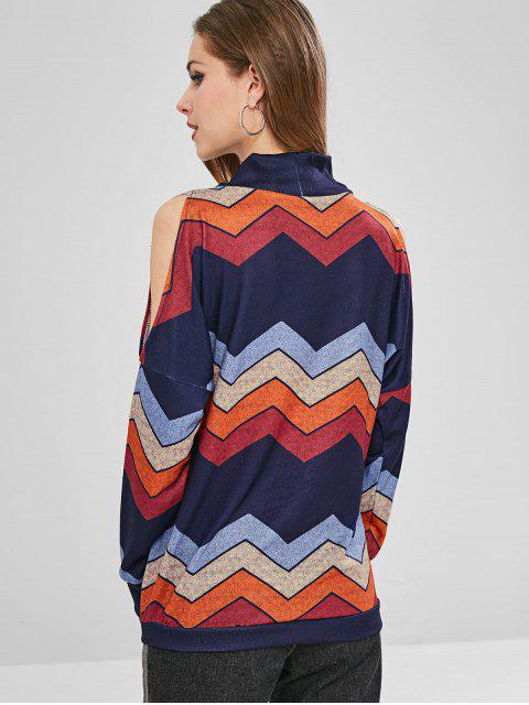 Sweat-shirt Graphique Zigzag à Epaule Dénudée - Multi-A L Mobile