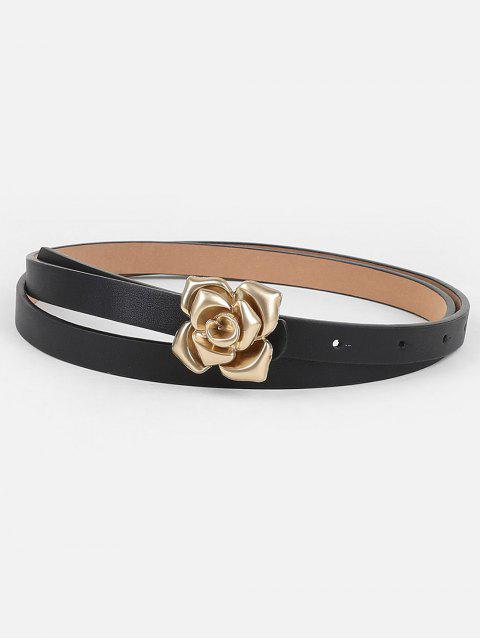 ladies Unique Floral Buckle Faux Leather Skinny Belt - BLACK  Mobile