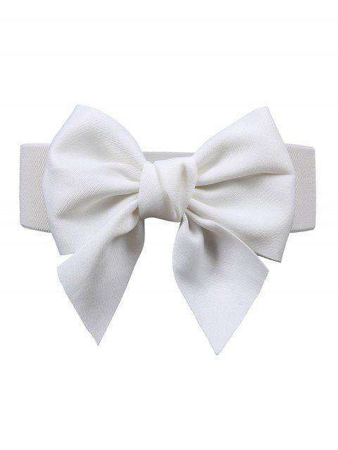 new Bowknot Embellished Elastic Dress Belt - WHITE  Mobile