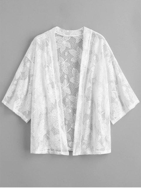 shop Leaf Lace Hollow Out Beach Cover Up - WHITE ONE SIZE Mobile