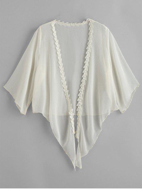buy Crochet Tied Hem Crop Sheer Cover Up - BEIGE ONE SIZE Mobile