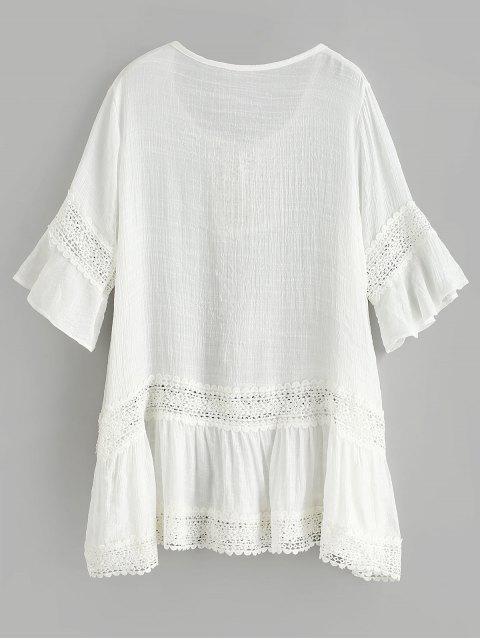trendy Crochet Tassel Flare Sleeve Beach Dress - WHITE ONE SIZE Mobile