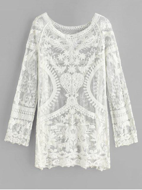 womens Crochet Raglan Sleeve Mini Beach Dress - WHITE ONE SIZE Mobile