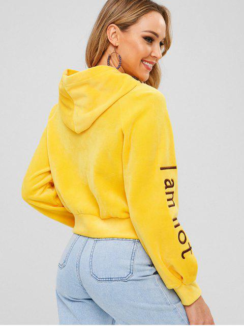 hot Raglan Sleeve Sorry Graphic Embroidered Velvet Hoodie - BRIGHT YELLOW M Mobile